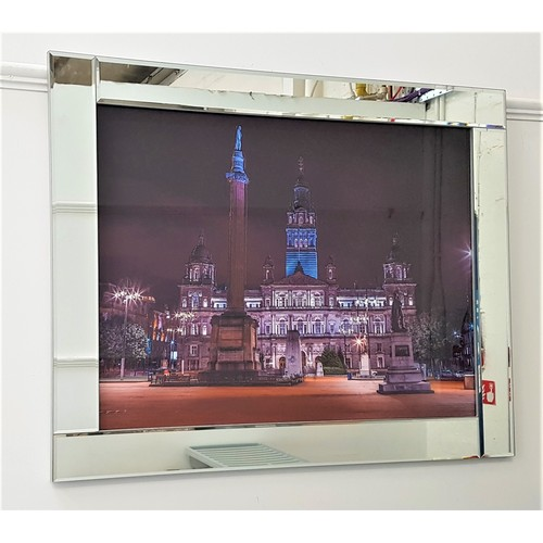 393 - SCOTTISH SCHOOL George Square Liquid Art, photographic reproduction with applied glue and bead decor...