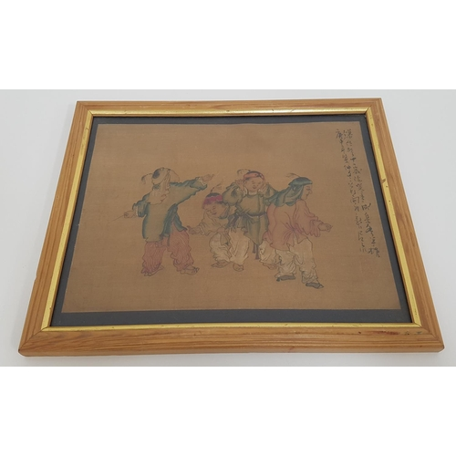 394 - CHINESE SCHOOL Boys playing with fireworks, pen and ink wash on canvas, with legend to side, 17.5cm ...