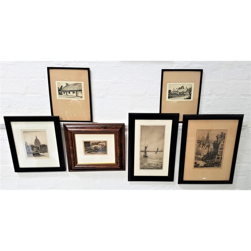 401 - SELECTION OF ETCHINGS comprising Johnstone Baird, Boats on the Thames by Greenwich, 31.5cm x 16cm; A...