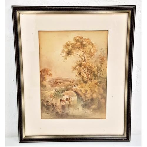 403 - J.W. FERGUSON cattle by the burn, watercolour, signed, 21.5cm x 16cm