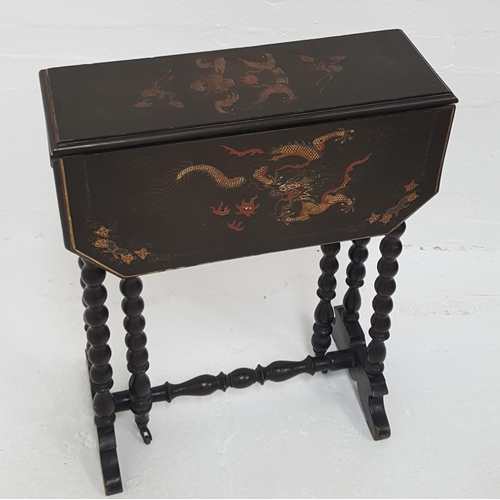 404 - 19th CENTURY CHINESE LACQUERED OCCASIONAL TABLE with shaped drop flaps decorated with dragons, stand...