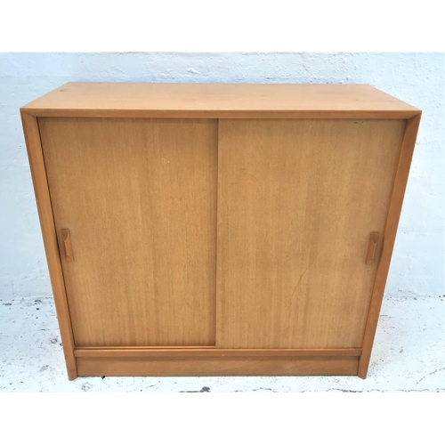 430 - LIGHT MAHOGANY BOOKCASE the rectangular top above a pair of sliding doors with an adjustable shelf, ...