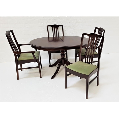 435 - MAHOGANY EXTENDING DINING TABLE AND FOUR CHAIRS the table with a pull apart top and fold out leaf, s...