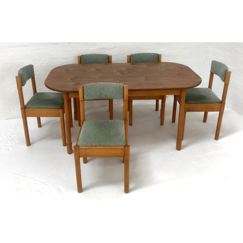 449 - OAK SHAPED TOP DINING TABLE standing on turned supports, 152cm long; together with five beech framed...