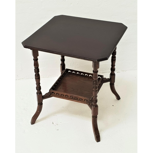 453 - EDWARDIAN OAK WINDOW TABLE the square top with canted corners, standing on turned supports united by...