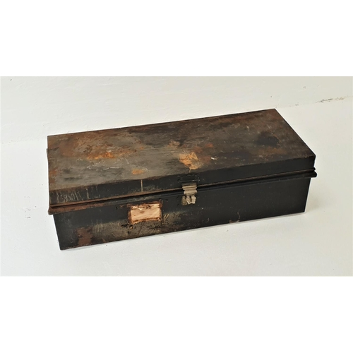 468 - VINTAGE METAL TRAVEL TRUNK with a lift up lid and side carrying handles, 107cm long
