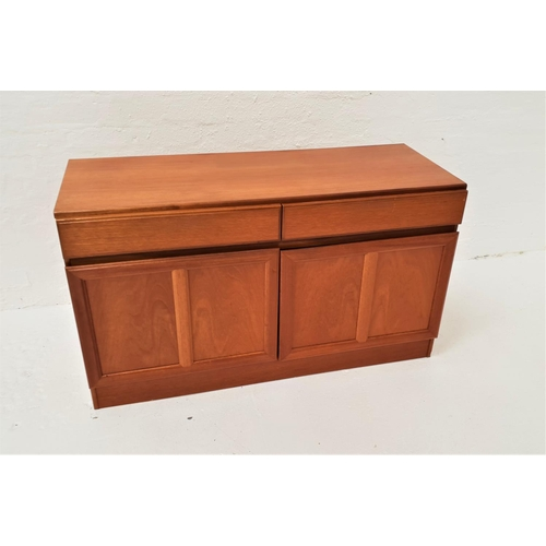 477 - MCINTOSH TEAK SIDE CABINET the moulded top above two frieze drawers with a pair of paneled cupboard ...