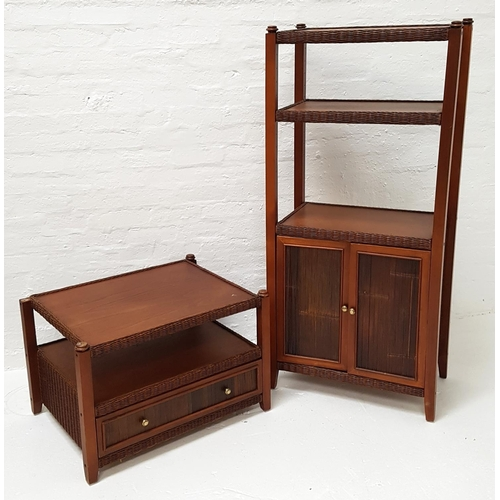 481 - TEAK TALL CABINET the three open shelves with caned sides above a pair of paneled cupboard doors, st...