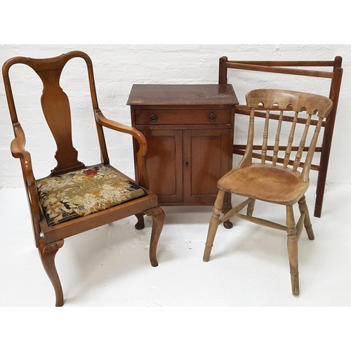 482 - OAK ARMCHAIR with a shaped top rail and central splat above an embroided drop in seat, on cabriole f...