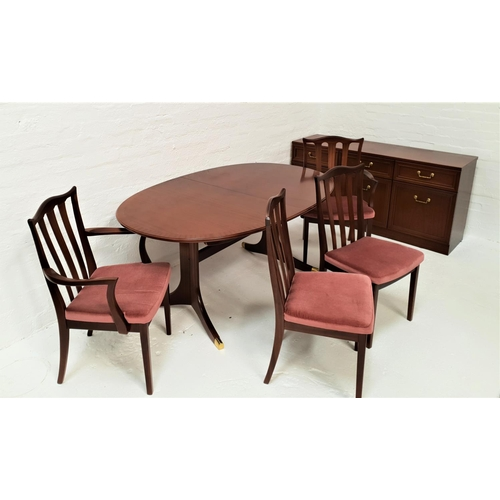 490 - G PLAN TEAK DINING ROOM SUITE comprising an oval dining table with a pull apart top and fold out lea...