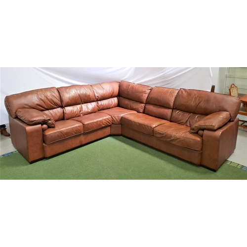 493 - LARGE LEATHER CONTEMPORARY CORNER SOFA in brown leather with three sections, with an adjustable turn...