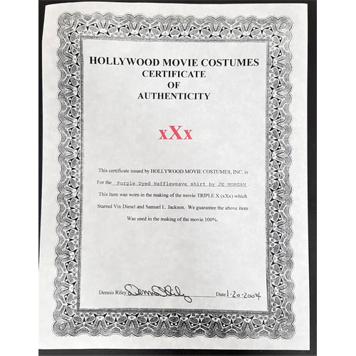19 - xXx (2002) - THREE COSTUME ITEMS comprising a PURPLE DYED WAFFLEWAVE SHIRT BY JE MORGAN, size small,...