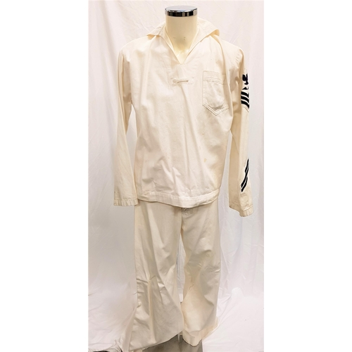 31 - PEARL HARBOR (2001) - U.S. NAVY WHITES UNIFORM Gents naval white canvas trousers 36 inch waist and 2...