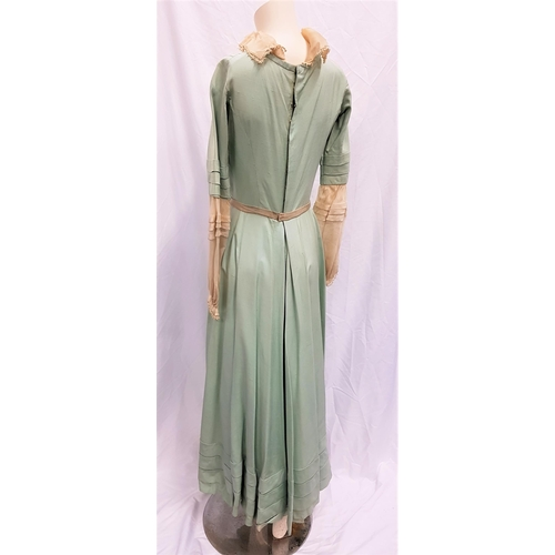 38 - THE CRUCIBLE (1996) - HANDMADE PALE GREEN AND IVORY SILK DRESS Custom made by western costumes, the ...