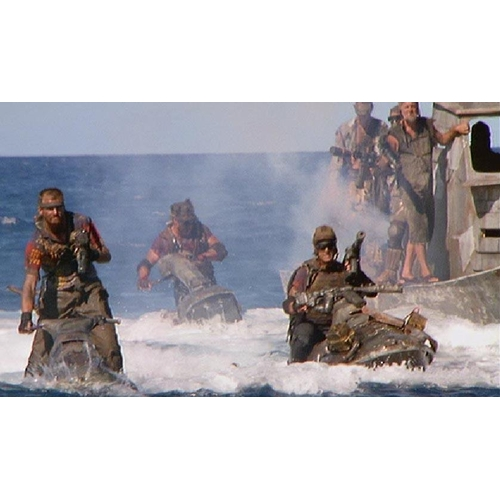 2 - WATERWORLD (1995) - 'BOAT PEOPLE' DISTERESSED JACKET AND TROUSERS Gents brown trousers and Parker, d...