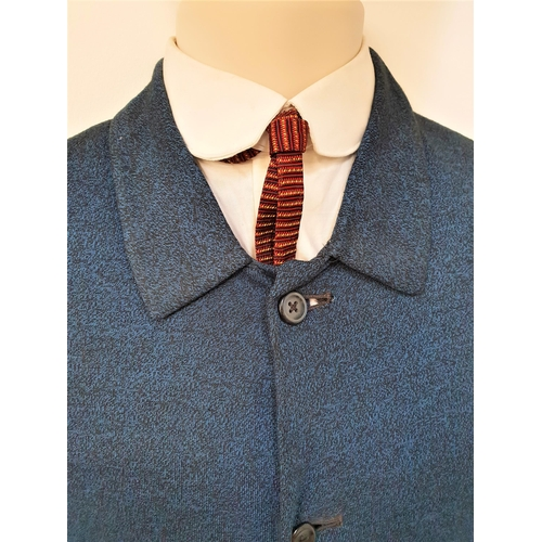 189 - THE BEATLES - JOHN LENNON'S SUIT, SHIRT AND TIE jacket with collar and four buttons in blue jersey m...