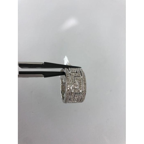 2 - 9k Meander Pattern Greek white gold ring set with diamonds around 0.50cts size O; 9.86g