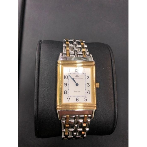 43 - Jaeger-LeCoultre Reverso Steel 18k Yellow Gold Men's Watch. In mint condition all original parts, fo...