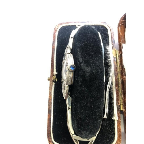 45 - ART DECO LADIES DIAMOND SAPPHIRE 14K WHITE GOLD WATCH 1920'S COMES WITH BOX  In mint condition all o...
