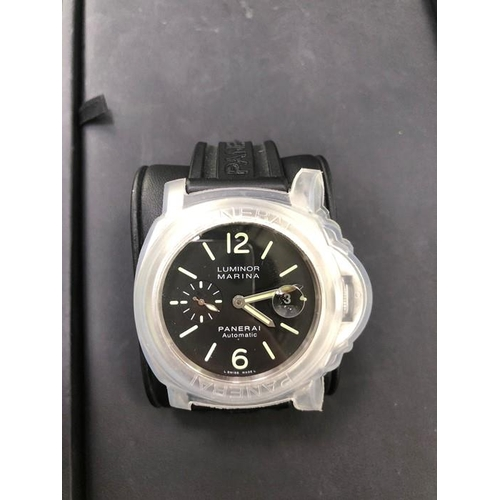 47 - Panerai Luminor Marina Automatic Black Rubber Strap. Comes with additional cover for the bezel + cro...