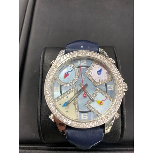 48 - Jacob & Co 5 Time Zone Men's Steel Diamond Set Watch. In mint condition all original parts, for addi...