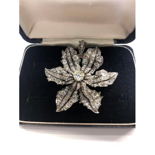 Stunning 14k White Gold Victorian Brooch/ Pendant Champagne Diamonds 19th century approx 5ct