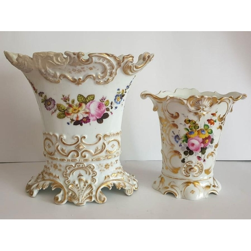 1 - A Pair Of French 19th Century Porcelain Hand Painted Vases. Large vase - 10 inches high & smaller va...
