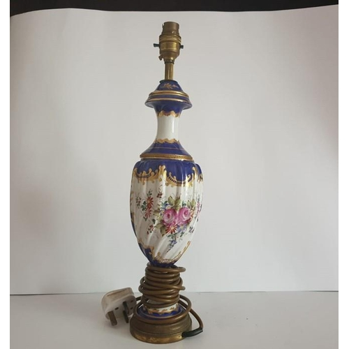 21 - French Hand Painted Lamp Gilded and Ribbed With Ormolu 19 inches tall