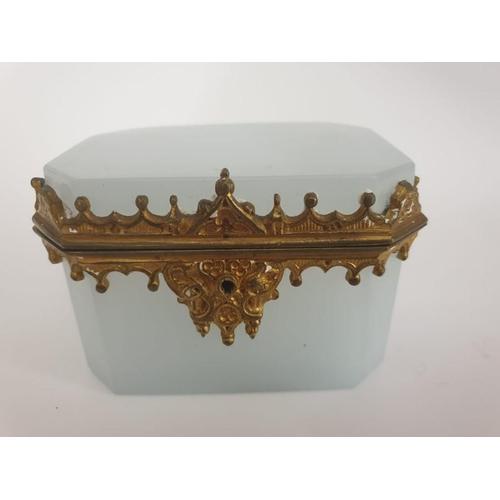 38 - French Bohemian Crème White Gilt Bronze Ormolu Box 4.5 inches long