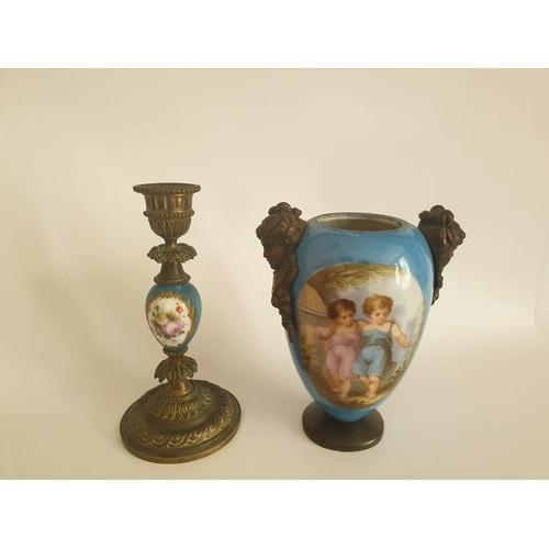 41 - French Gilt Bronze Ormolu Vase & Candlestick 19th Century