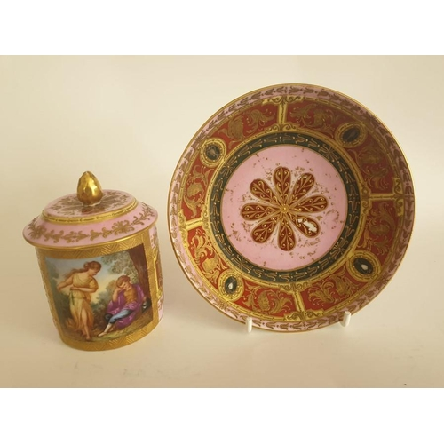 44 - Vienna Jewelled Chocolate Cup & Saucer Hand Painted Heavy Gilding 19th Century 4.5 inches tall