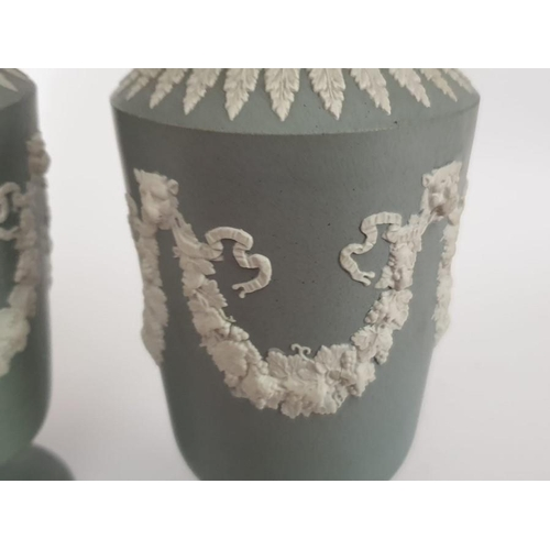 59 - Pair Of Jasperware Vases believed to be Spode Or Doulton, with pattern number and impress mark 6.5 i...