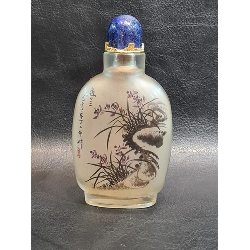 39 - 19th/20th century Chinese Reverse Painting Snuff Bottle With Floral Scenes Signed & Lapis Lazuli Top...