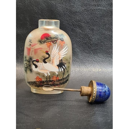 41 - 19th/20th century Chinese Reverse Painting Snuff Bottle With Cranes Signed 9.7cm Tall Approx.