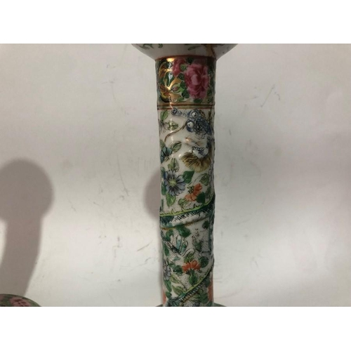 13 - 19th Century  Pair Of Chinese Famille Rose Candlesticks 22cm tall approx