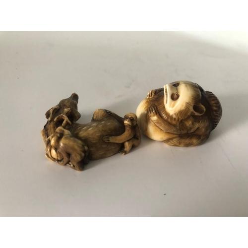 19 - 19th Century Netsuke Ivory Mythical Creature Figure & Man. Creature 4cm length x 2cm height. Animal ...