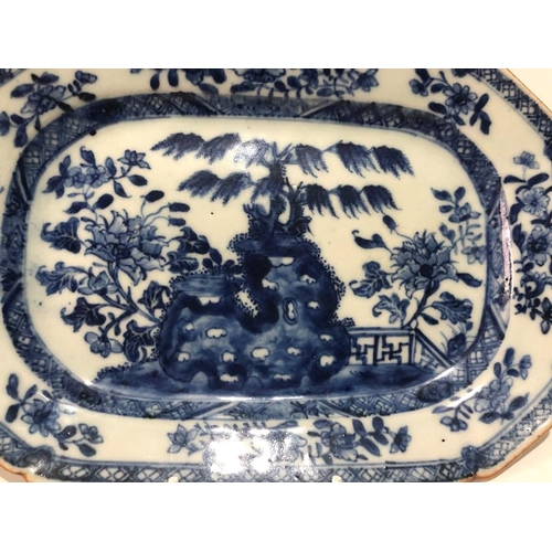 25 - 18th Century Qianglong Blue & White Plate Meat Dish 18cm width x 26cm length approx