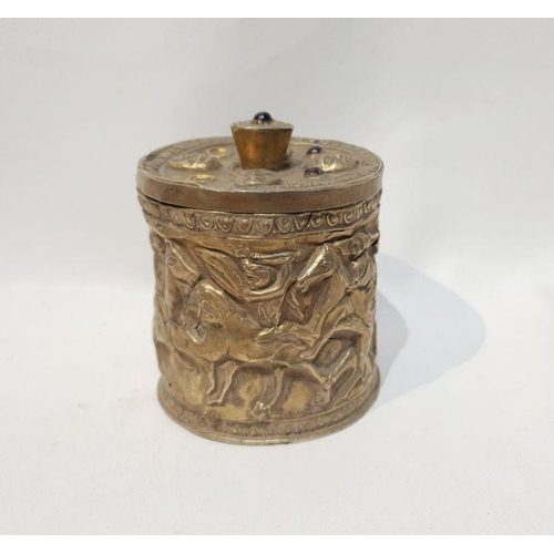 31 - 3rd Century Silver Roman Engraved Box With Semi Precious Stones. The box has scenes of war with hors...