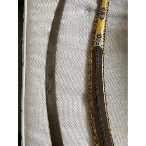 50 - AN IVORY-HILTED WATERED-STEEL SWORD (SHAMSHIR) WITH ENAMELLED CROSS GUARD AND SCABBARD, PERSIA AND I...