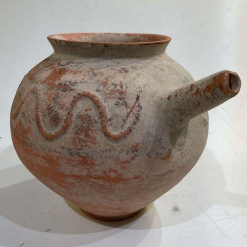 23 - Clay water jar with serpent motive around its rim , Bactrian period 1st millennium BC