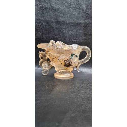 37 - Rare Chinese Rock Crystal/Glass Libation Cup