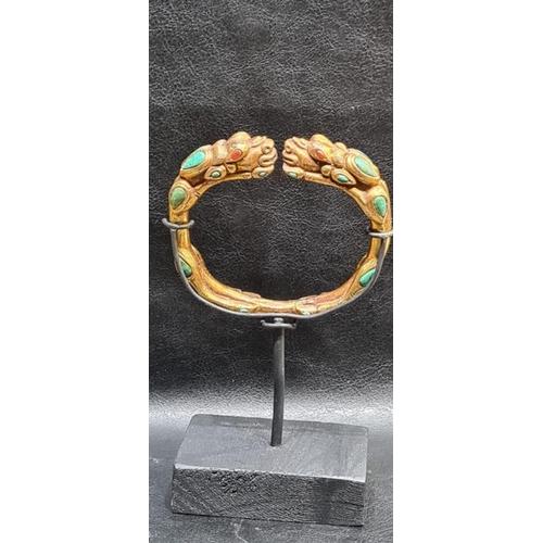 47 - Chinese Tibetan Gold Gilt Dragon Bangle With Semi Precious Stones