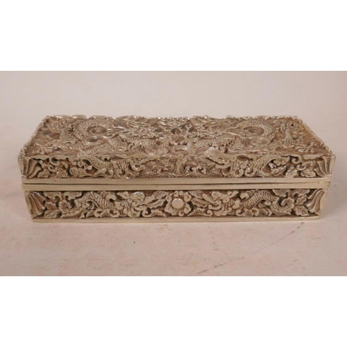 49 - A Chinese White Metal Scribe Box With Dragon & Flaming Pearl Decorated With Impressed Mark 8 inches ...