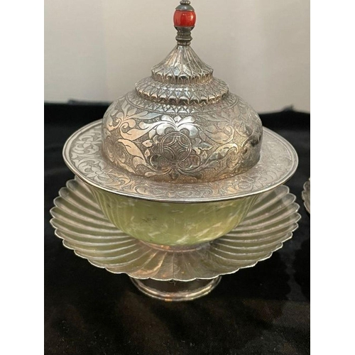 50 - Early Chinese Tibetan Silver Dishes Golden & Silver Inlay