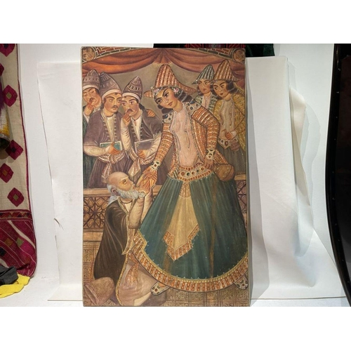 56 - Large Hand painted late 20th century pictures of court dancers in the style of Qajar