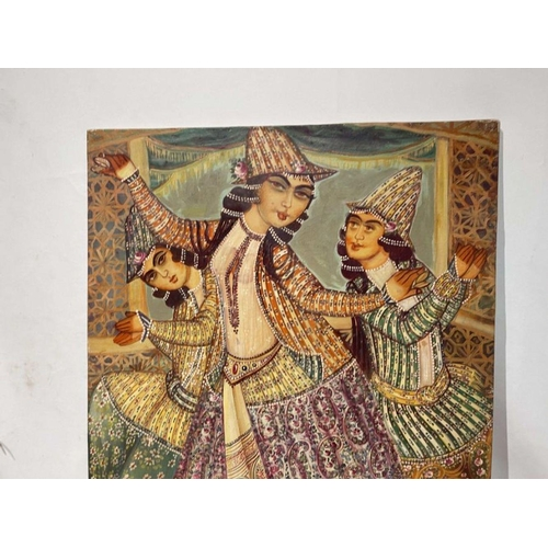57 - Hand painted late 20th century pictures of court dancers in the style of Qajar