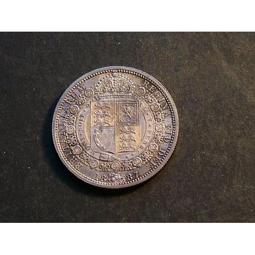 Halfcrown  1887, JH / shield in garter, EF, toned