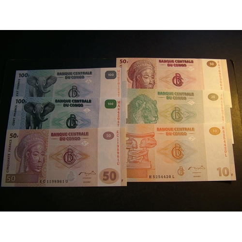 22 - CONGO DEMOCRATIC REPUBLIC.  10 Francs, 30.6.2003, P-93a.  20Fr, 30.6.2003, P-94a.  50Fr, 4.1.2000, P...
