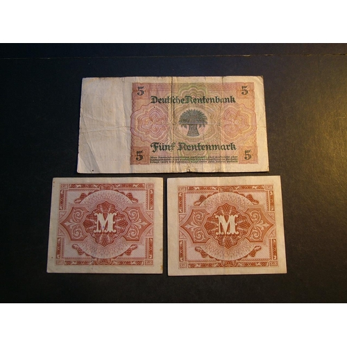 26 - GERMANY.  5 Rentenmark, 2.1.1926, P-167, VG, and 2x WWII Allied occupation issues; 1 Mark, 1944, P-1...