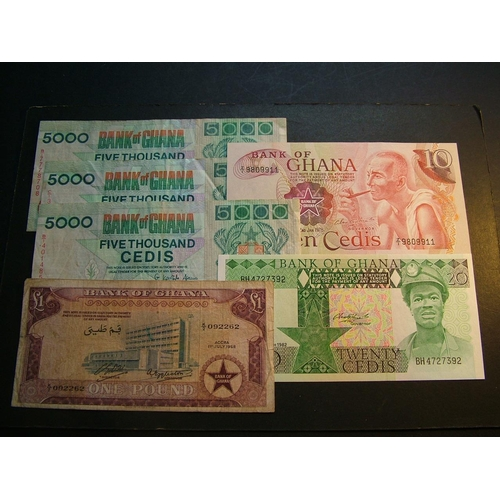 27 - GHANA.  £1, 1.7.1958, P-2a.  5000 Cedis, 26.6.1994, P-31a x2& 6.1.1995, P-31b.  10 Cedis, 2.1.1978, ...
